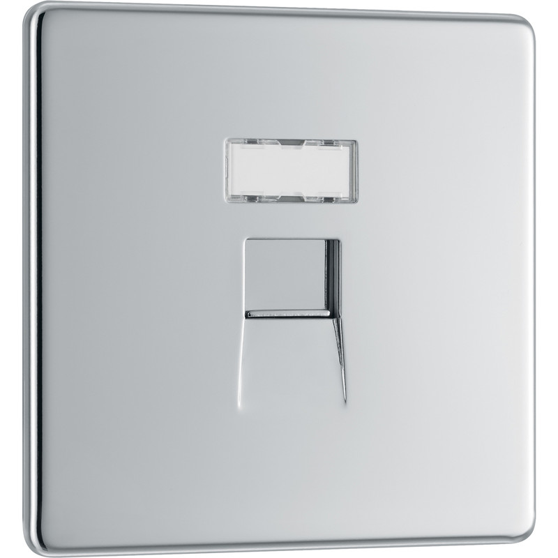 BG Screwless Flat Plate Polished Chrome RJ45 Outlet