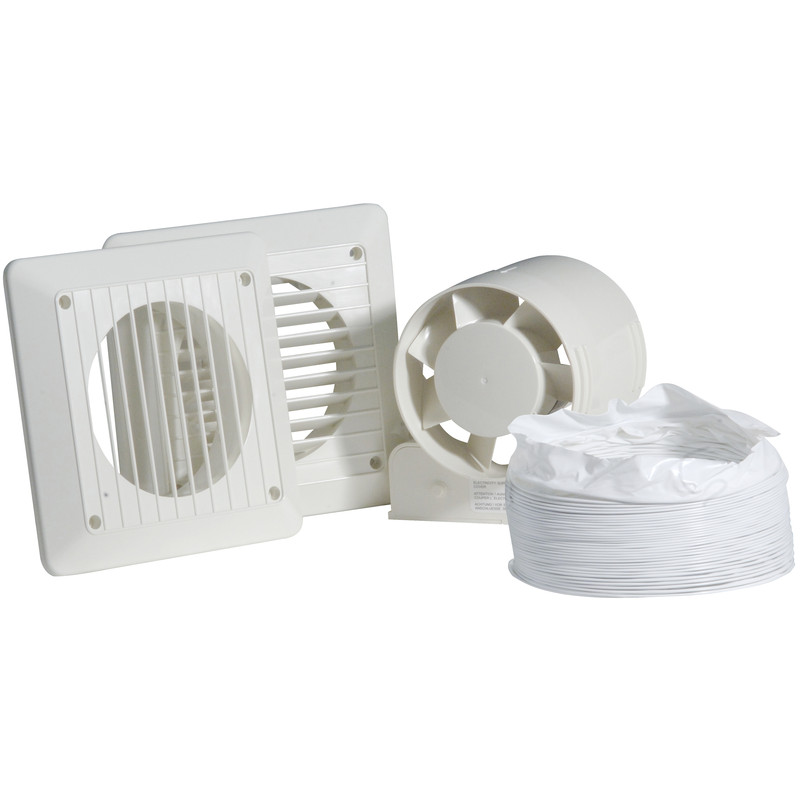 Airvent 100mm In-line Shower Extractor Fan Kit