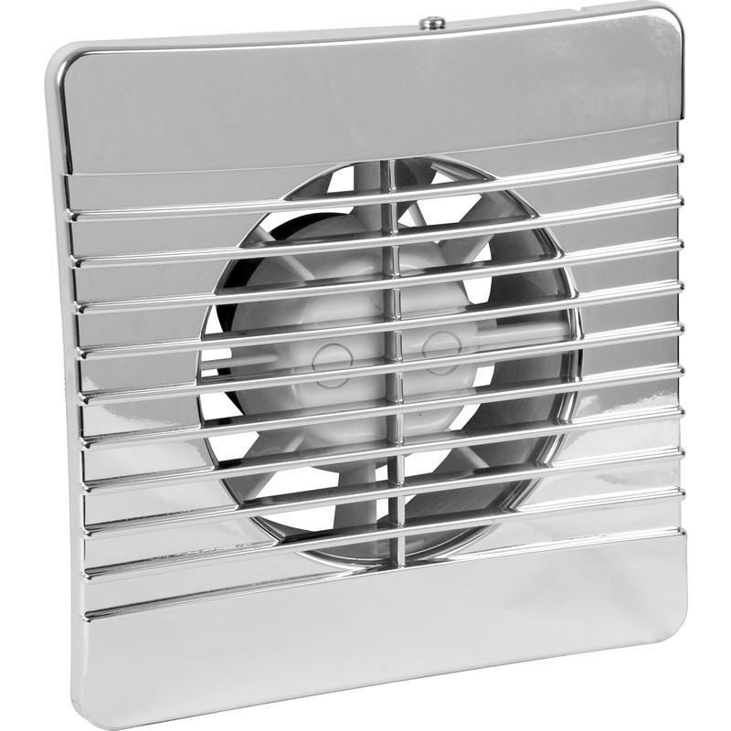 Airvent 100mm Chrome Low Profile Extractor Fan Timer
