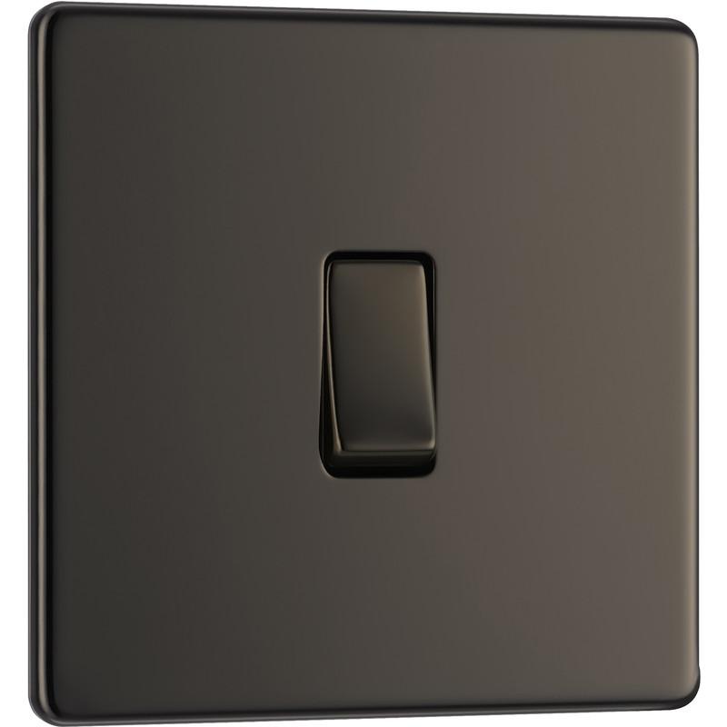 BG Screwless Flat Plate Black Nickel 10AX Light Switch