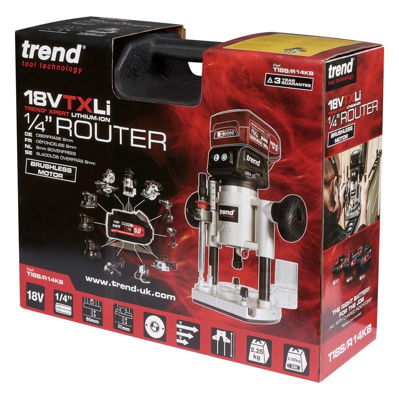 """Trend T18S/R14 18V Cordless Brushless 1/4"""" Router"""