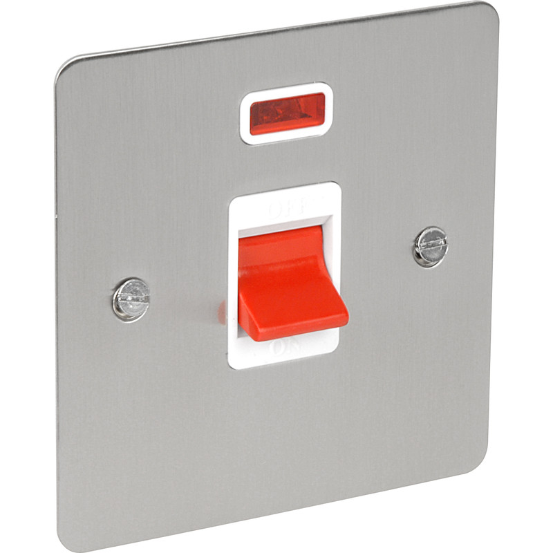 Flat Plate Satin Chrome 45A DP Switch