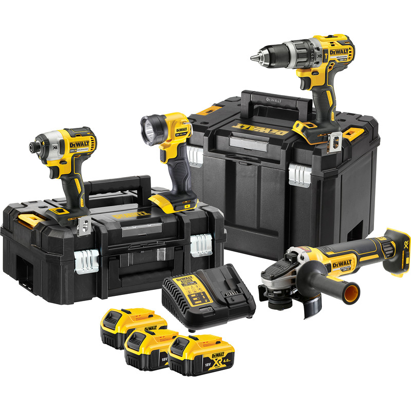 DeWalt 18V XR Brushless Combi Drill, Impact Driver, Grinder & Torch 4 Piece Kit