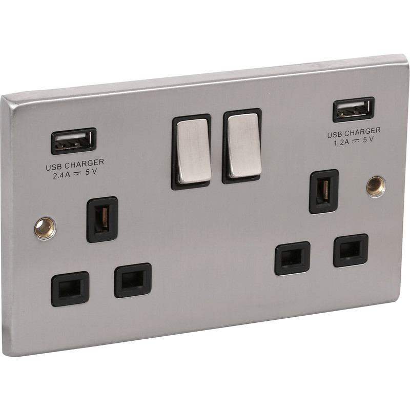 Satin Chrome USB Switched Socket