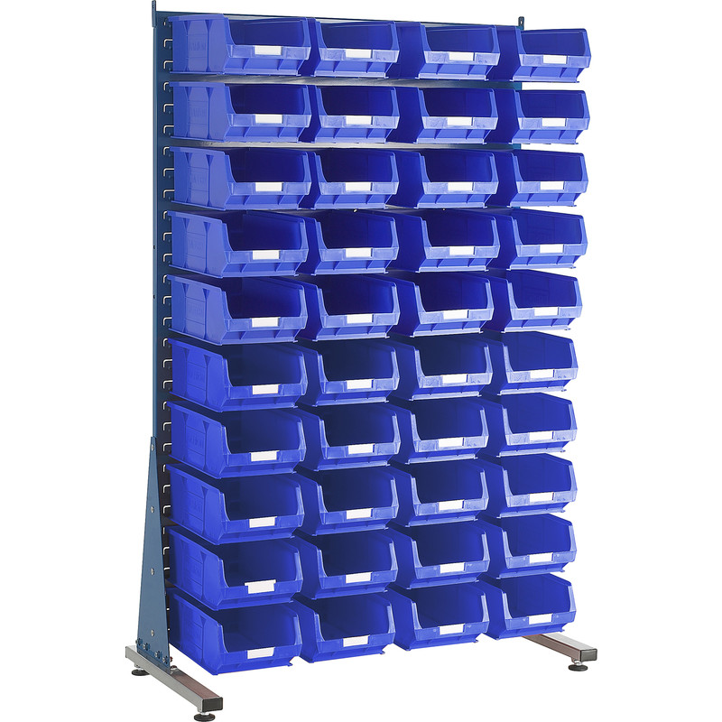 Barton Steel Louvre Panel Starter Stand with Blue Bins 1600 x 1000 x 500mm