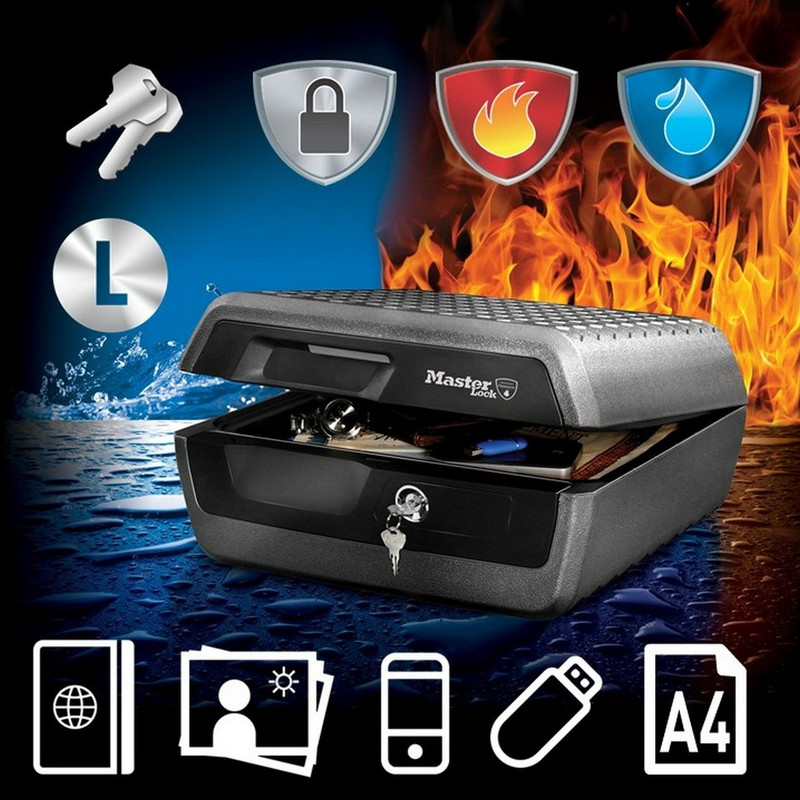 Master Lock Large A4 Fire & Water Resistant Chest
