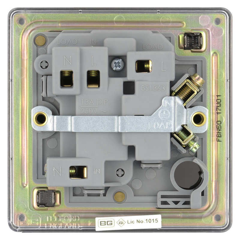 BG Screwless Flat Plate Black Nickel 13A Spur Unit
