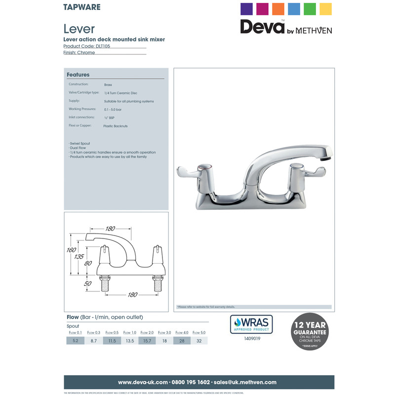 Deva Contract Lever Deck Mixer Kitchen Tap