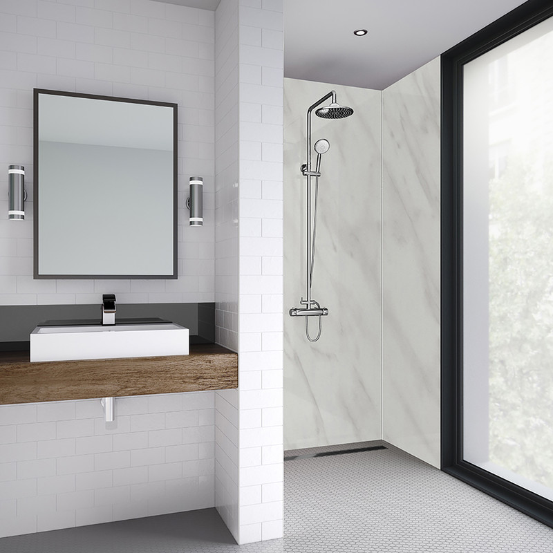 Mermaid Carrara Marble Laminate Shower Wall Panel