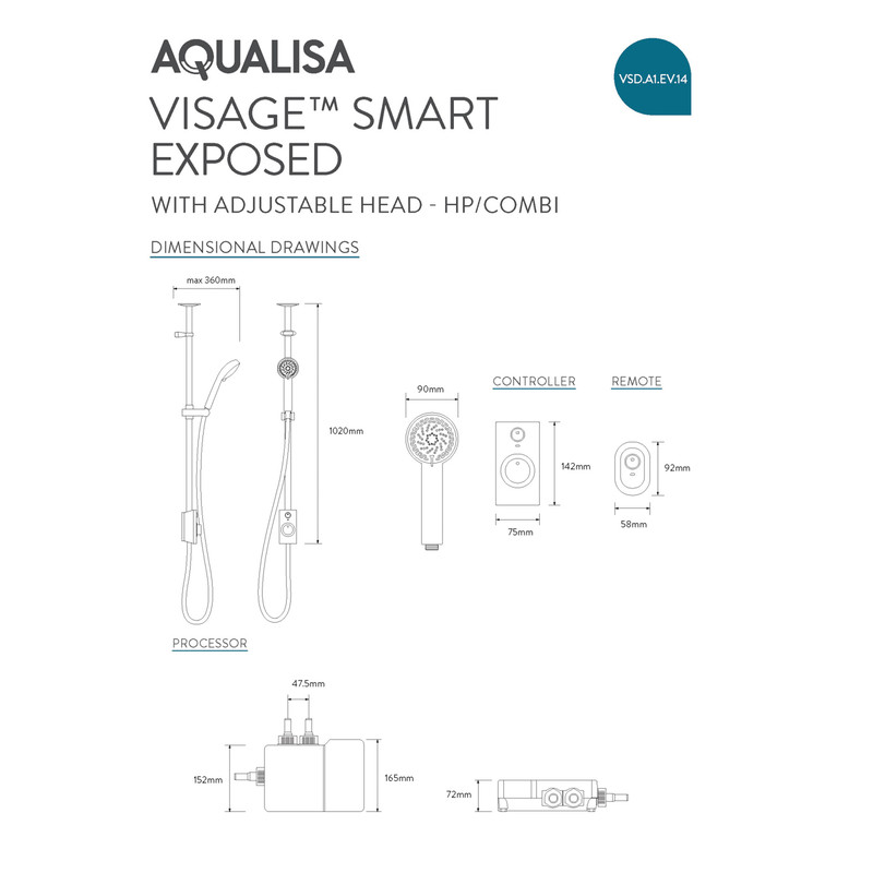 Aqualisa Visage Digital Exposed Thermostatic Shower