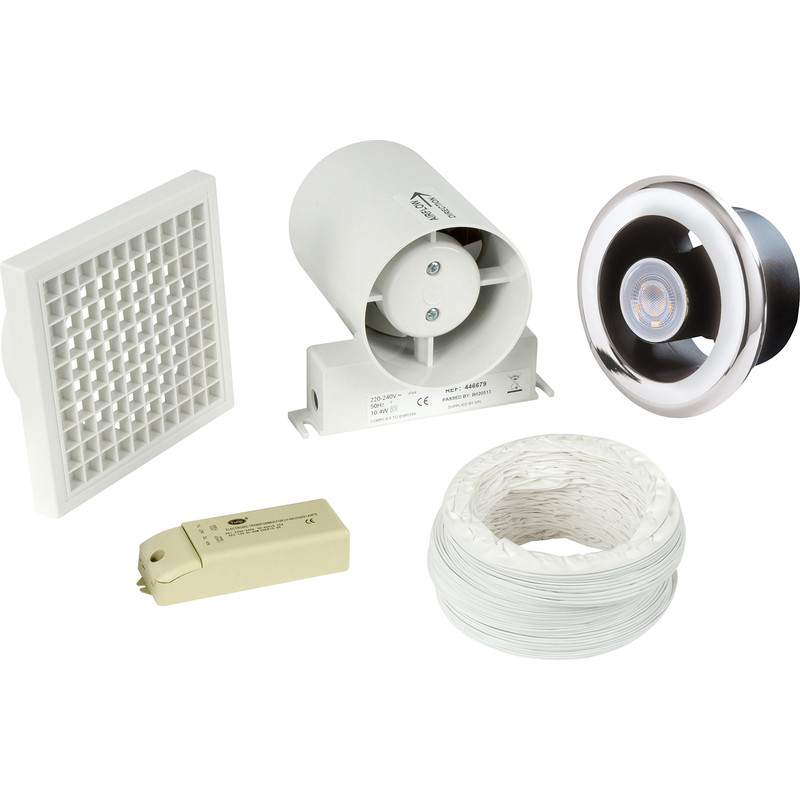 Airvent 100mm Inline Shower Extractor Fan & Light Kit with Timer