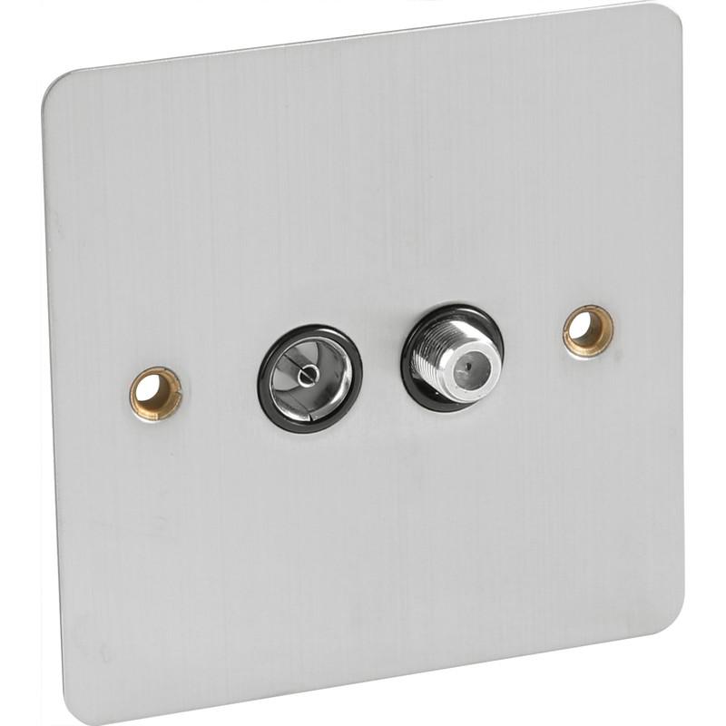 Flat Plate Satin Chrome Satellite Socket Outlet