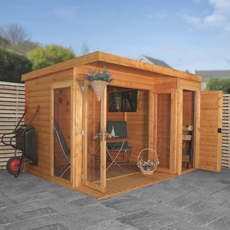 Mercia Corner Summerhouse With Side Shed
