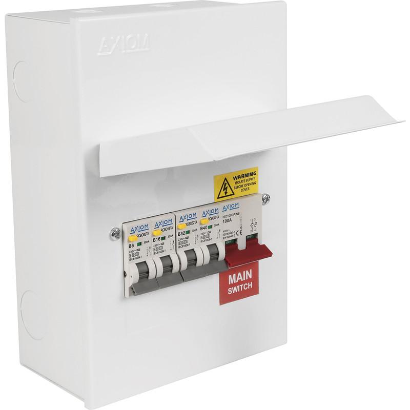Axiom Metal Consumer Unit + 4 Type A RCBO