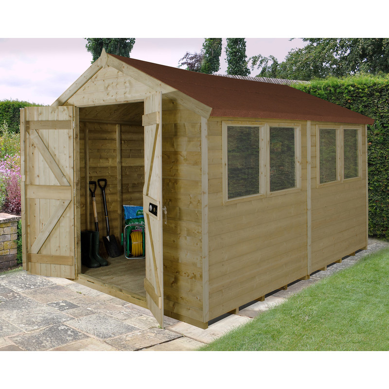 Forest Garden Tongue & Groove Pressure Treated Shed - Double Door
