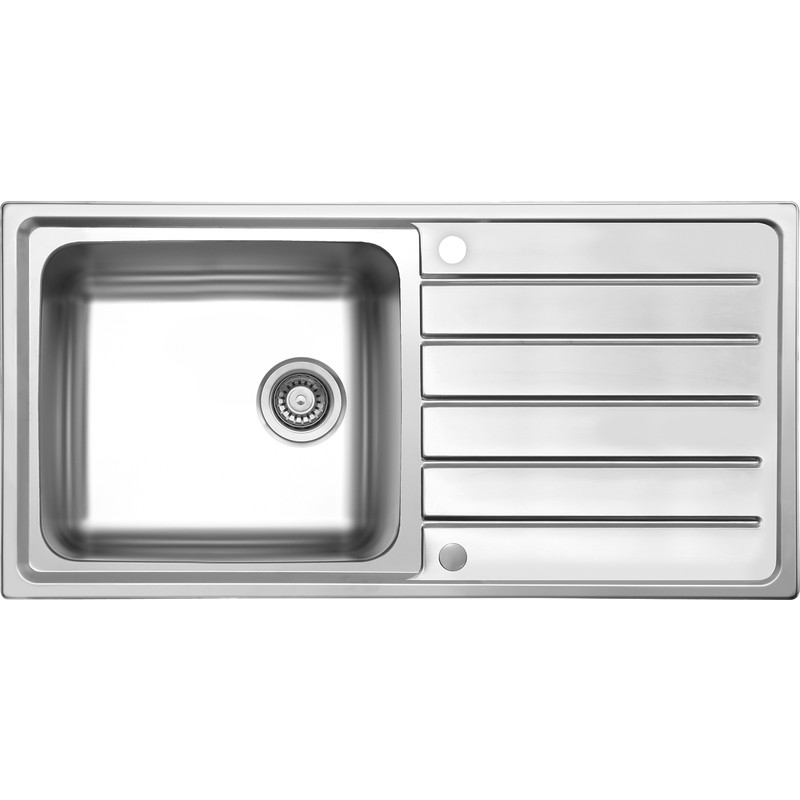 Stainless Steel Single Bowl Kitchen Sink & Drainer 1000 x 500 x ...