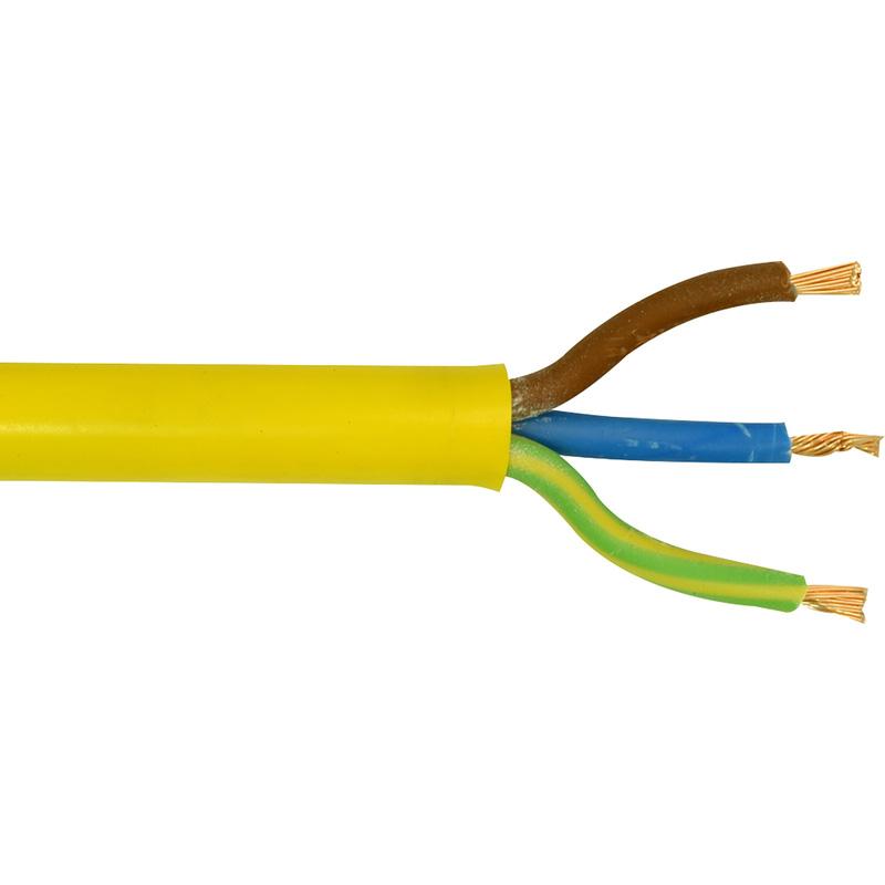 50M Drum 3 Core 2.5mm Yellow Arctic Flex Cable 110V Site Extension 3183YAG