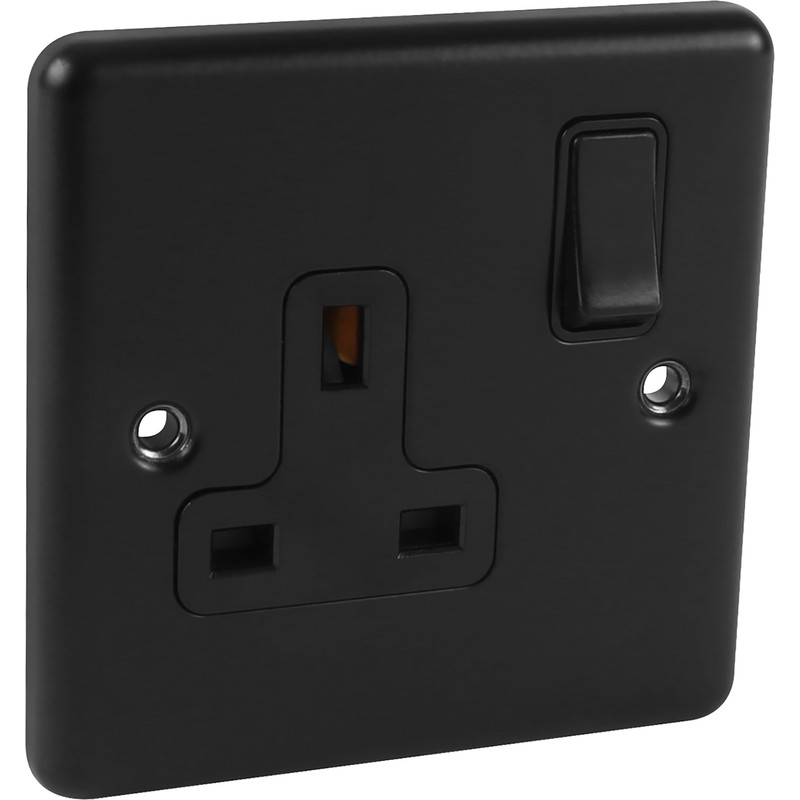 Wessex Matt Black 13A DP Socket