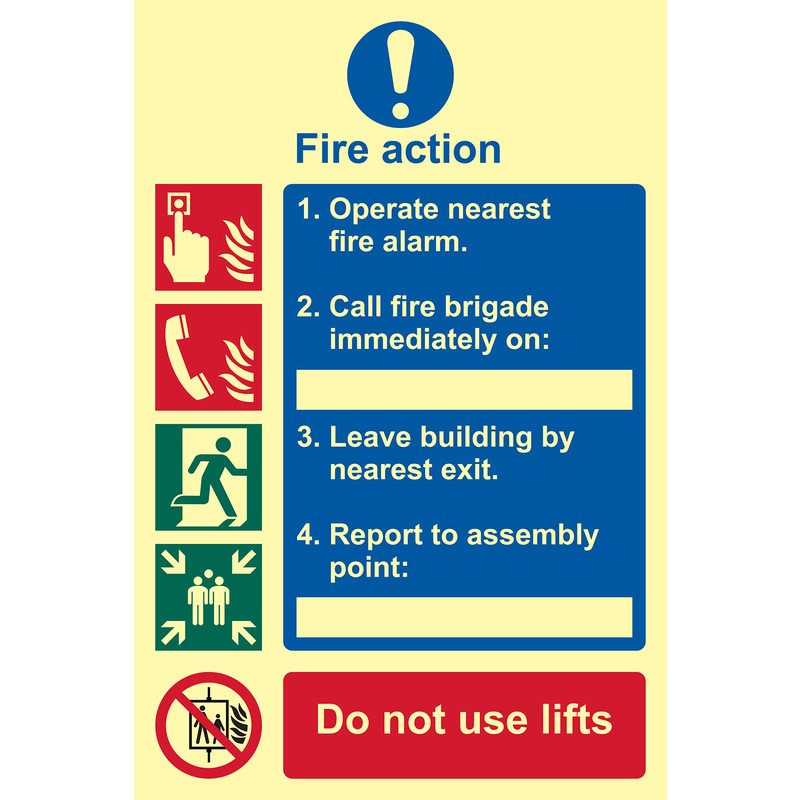 Photoluminescent Fire Action Procedure Sign