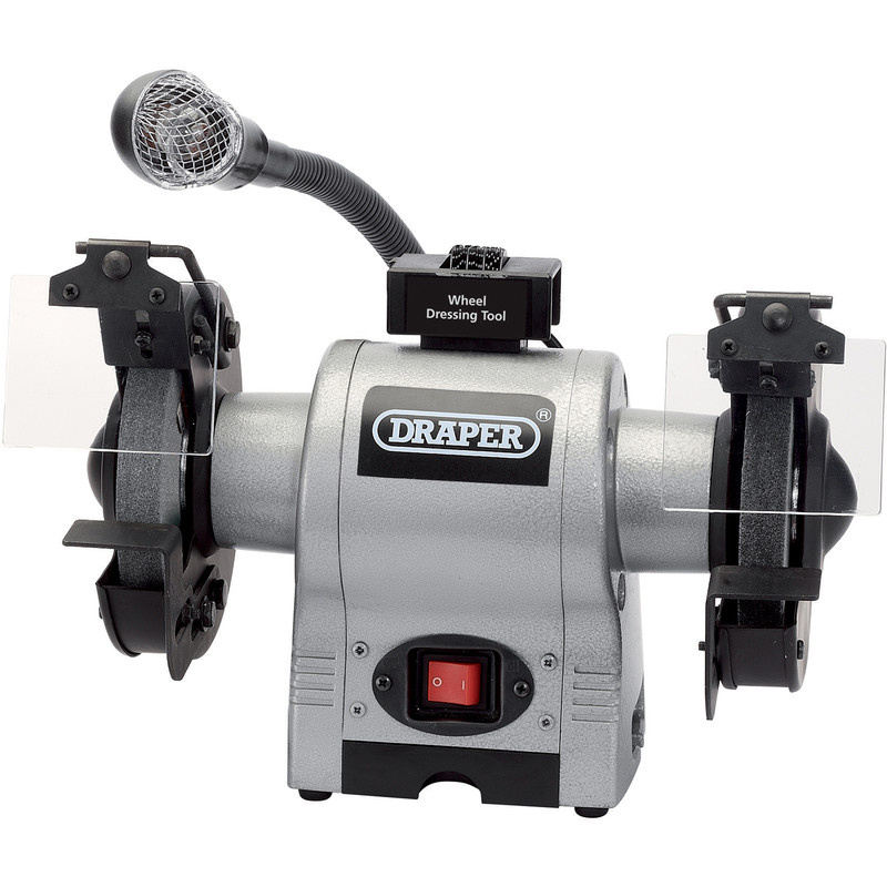 Draper 150mm 370W Heavy Duty Bench Grinder with Worklight