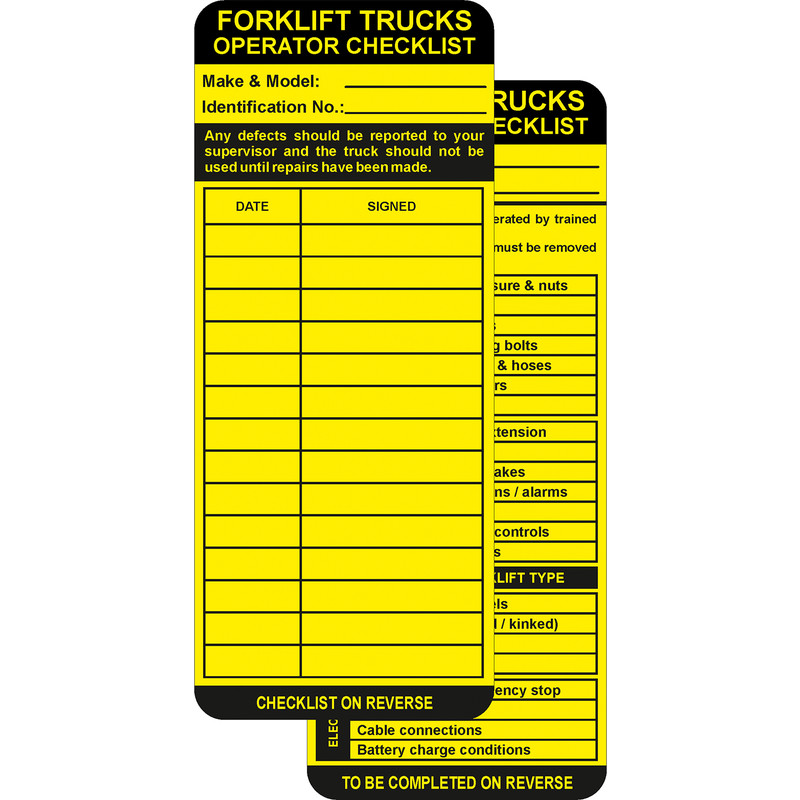 Forklift Tag Inserts