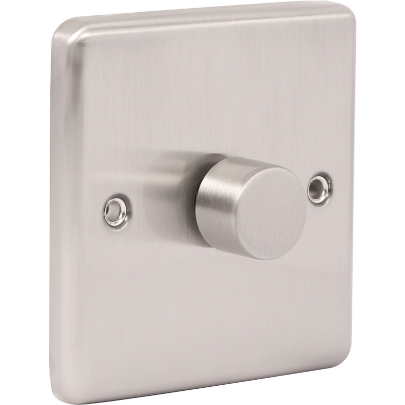 Wessex Brushed Stainless Steel Dimmer Switch
