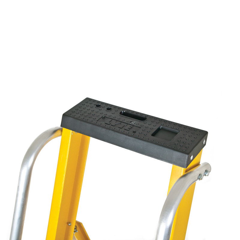 Lyte Heavy Duty Fibreglass Platform Step Ladder With Safety Handrail