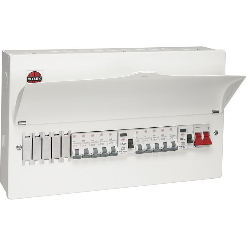 Wylex Metal Dual Type A RCD Consumer Unit + 10 MCBs