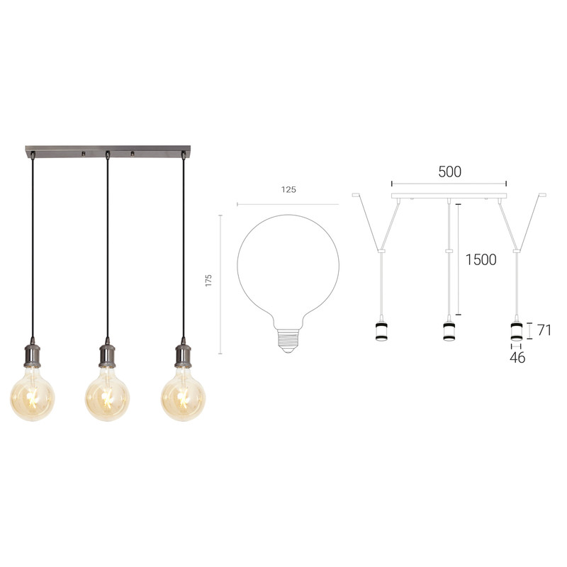 4lite WiZ Connected Decorative 3 Way Bar Pendant Blackened Silver with 3 x 6.5W WiFi Smart LED Globe Bulbs