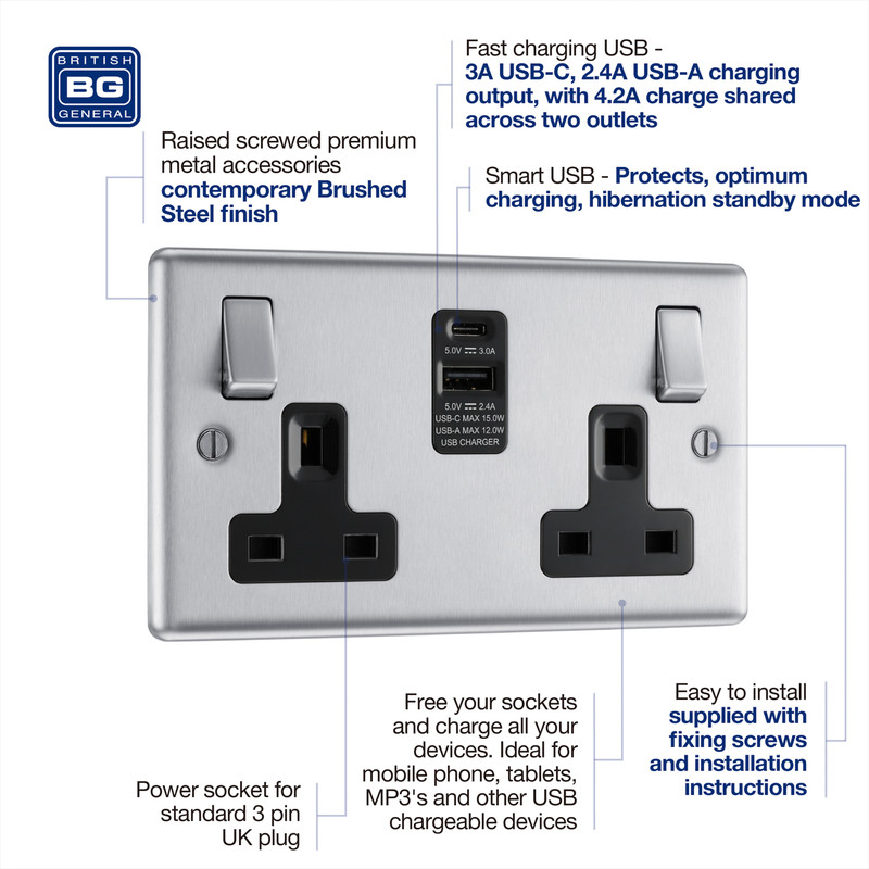 BG Brushed Steel 13A Black Insert Switched Socket + A & C Type USB