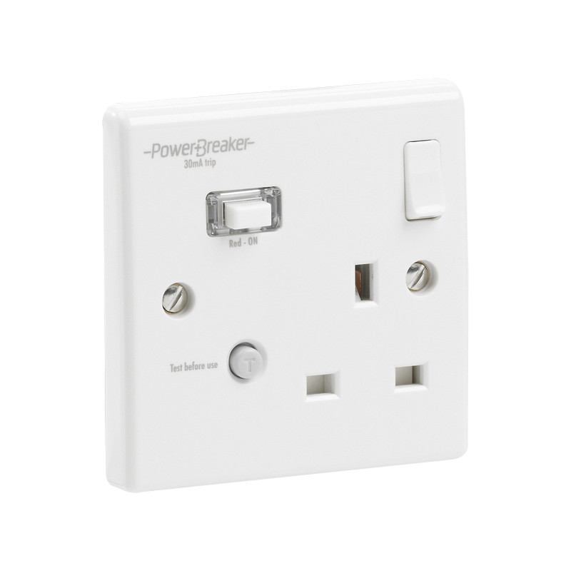 RCD Switched Socket White