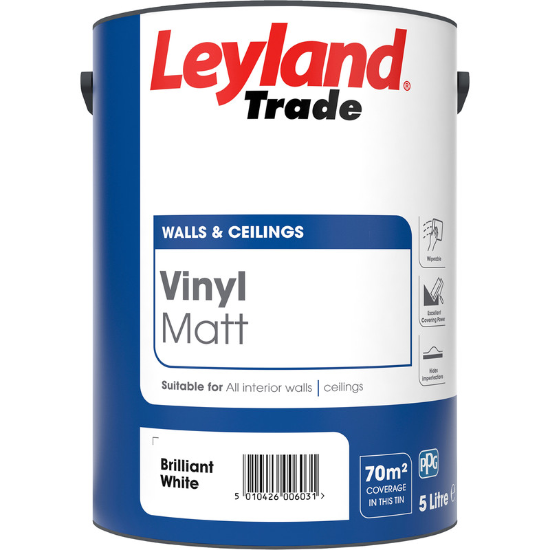 Leyland Trade Vinyl Matt Emulsion Paint 5l Brilliant White