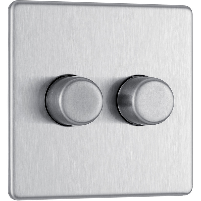 BG Screwless Flat Plate Brushed Stainless Steel Dimmer Switch