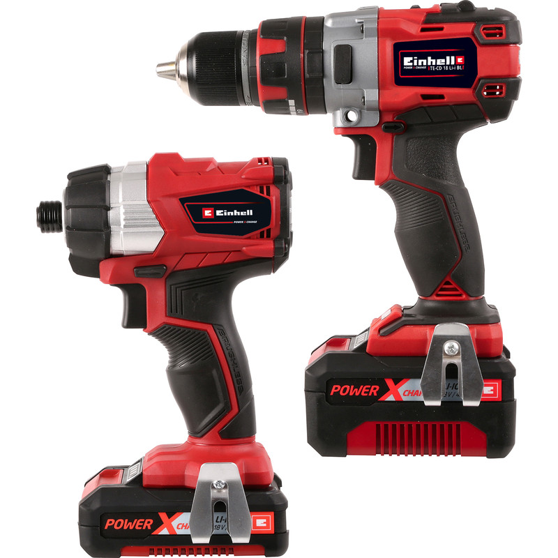 einhell power x change 18v li ion cordless brushless combi drill impact driver twin pack 1 x 4. Black Bedroom Furniture Sets. Home Design Ideas