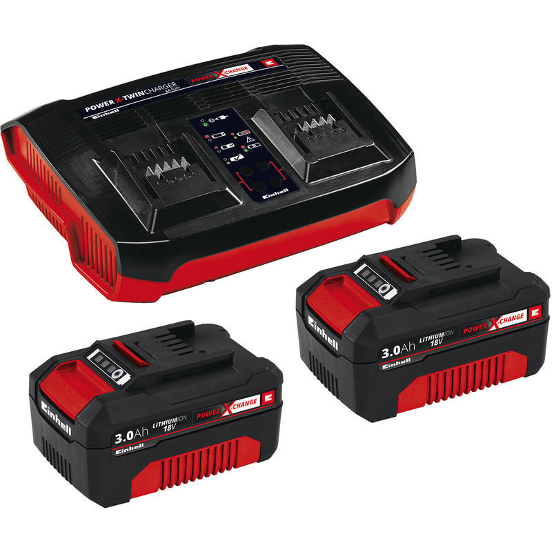 Einhell Power X-Change 18V Li-Ion Twin Battery & Charger Kit