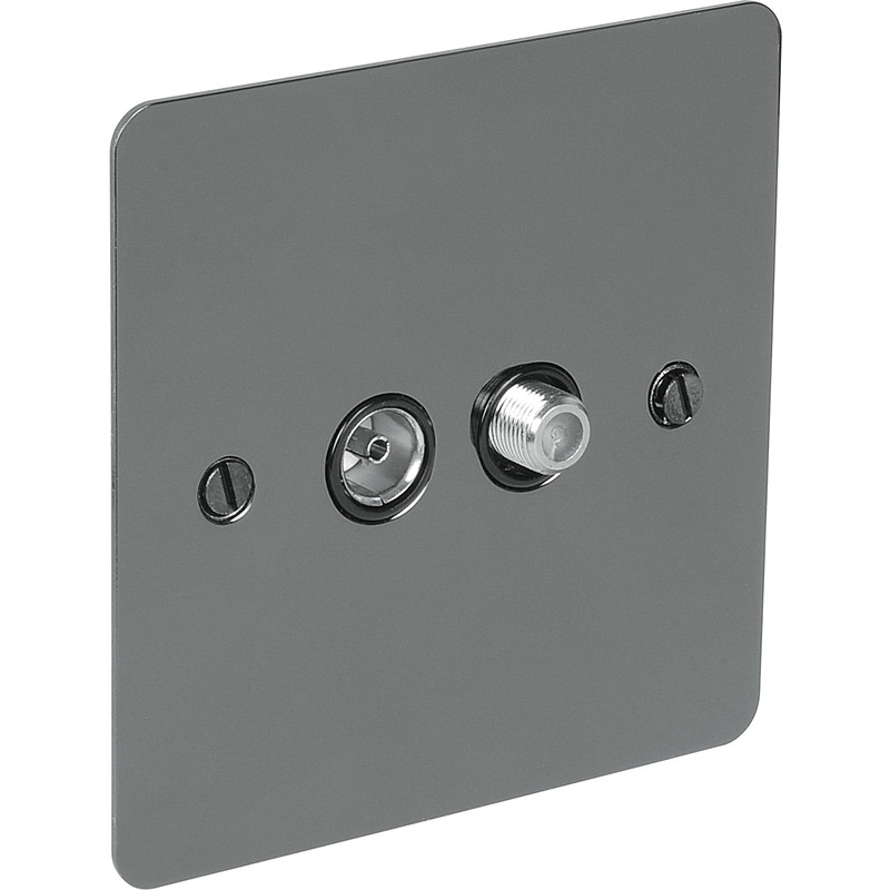 Flat Plate Black Nickel TV / Satellite Socket Outlet