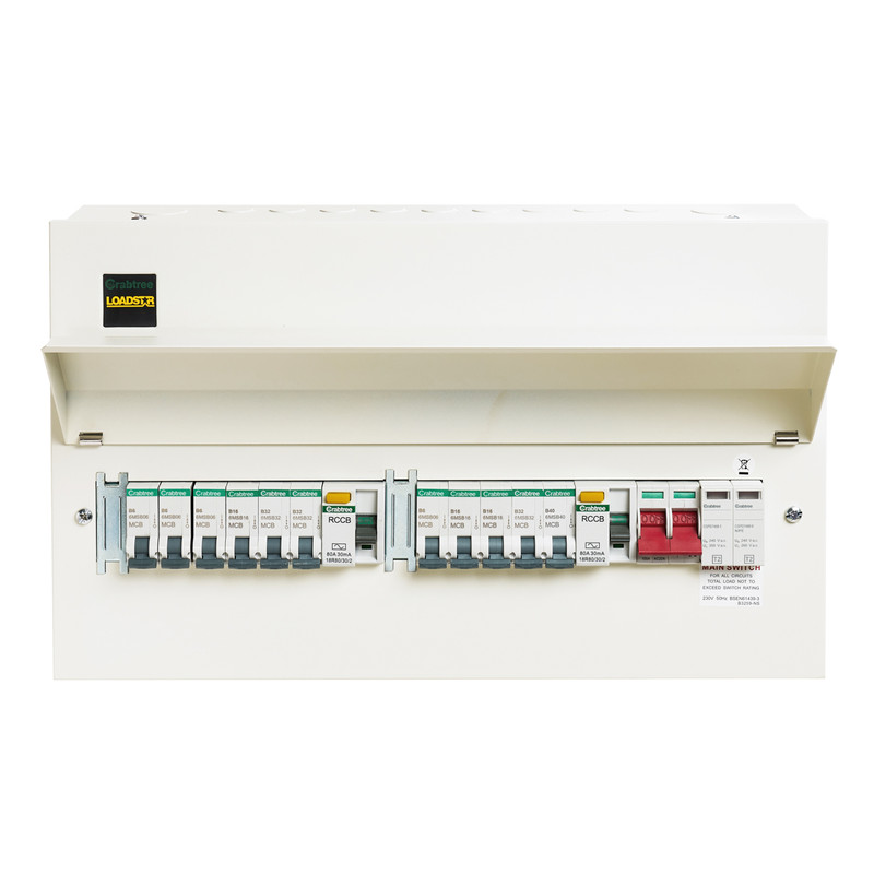 Crabtree Loadstar Metal Consumer Unit 13 Way Dual RCD + SPD + 11 MCBs