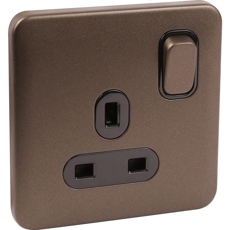 Schneider Lisse Mocha Bronze Screwless 13A Switched Socket