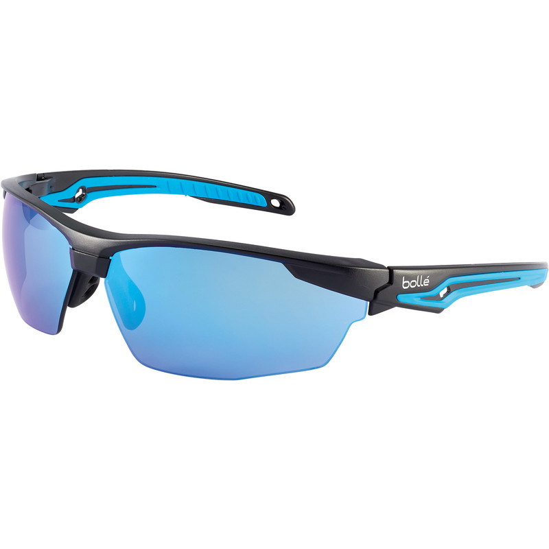 Bolle Tryon safety specs with K&N blue flash mirror lens TRYOFLASH