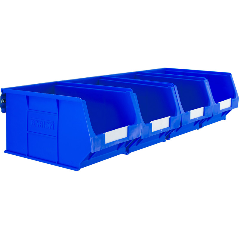 Steel Wall Rail with Blue Bins