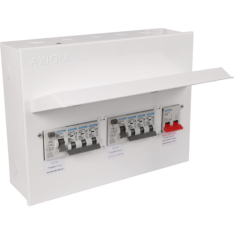 Axiom Metal 17th Edition Amendment 3 Dual RCD + 6 MCBs Consumer Unit